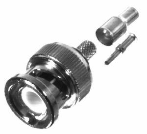RFB-1106-5 RF Industries BNC MALE CRIMP Plug, Nickel,Gold,T; FOR RG-174/U & RG316/U, LMR100A, (LG