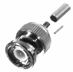 RFB-1106-6 RF Industries BNC MALE CRIMP Plug, Nickel,Gold,T; FOR RG-174/U & RG316/U, LMR100A, (SM F