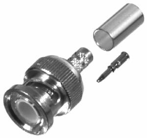 RFB-1107-1X RF Industries BNC MALE CRIMP Plug, Nickel,Gold,D; FOR RG-8X, CBL GRP X