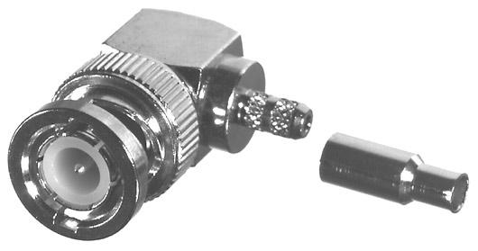 RFB-1110-B RF Industries BNC Male Right Angle For RG-174, RG316/U, LMR100A