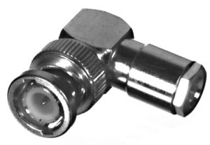 RFB-1110-C-04 RF Industries BNC MALE Right Angle CLAMP Plug, S,Gold,T; FOR RG-58/U & RG-142/U & RG-5