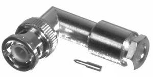RFB-1110-S RF Industries BNC MALE Right Angle CLAMP Plug, S,S,T; FOR RG-58/U, CBL GRP C