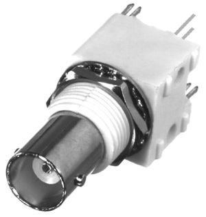 RFB-1113-1W-03 RF Industries BNC FEM VERT HI-PROFILE PCB MNT,(WHITE), A,Gold,P; W/ SNAP LEGS; W/ HA