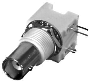 RFB-1113-W-03 RF Industries BNC FEM, Right Angle HI-PROFILE PCB MNT,(WHITE), A,Gold,P; W/ SNAP LEGS;