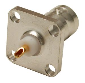 RFB-1115-S RF Industries BNC FEM, 4 HOLE PANEL MNT, SOLDER CUP, S,Gold,T