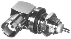 RFB-1154 RF Industries BNC FEM Right Angle BLKHD W/SOLDER POT, Nickel,Gold,T