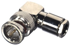RFB-1709-D RF Industries BNC 75 OHM MALE Right Angle CLAMP Plug, N-G-T; RG-59/U, RG59, RG62, 210, M1