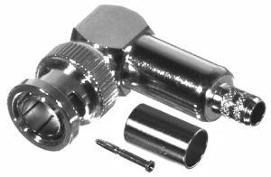 RFB-1710-D RF Industries BNC 75 OHM MALE Right Angle CRIMP Plug, Nickel,Gold,T; FOR RG-59/U, RG59, R