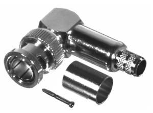 RFB-1710-Q RF Industries BNC 75 OHM MALE Right Angle CRIMP Plug, Nickel,Gold,T; FOR RG-6/U CBL GRP Q