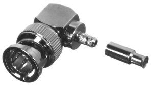 RFB-1710-S RF Industries BNC 75 OHM MALE Right Angle CRIMP Plug, Nickel,Gold,D; FOR RG-179/U, CBL GR