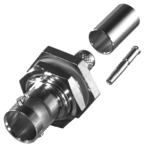 RFB-1717 RF Industries BNC 75 OHM FEM CRIMP BULKHEAD, REAR MNT, Nickel,Gold,D; FOR RG-59/U, RG59, RG