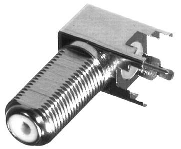 RFF-1442-03 RF Industries F, FEM Right Angle PCB MNT, 4 LEG {LONG}, NICKEL-TIN-Dielectric POLYPROPYL