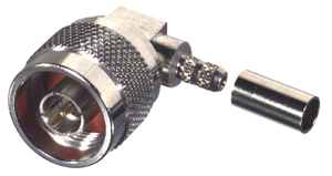 RFN-1009-C1-03 RF Industries Nickel, MALE Right Angle CRIMP, SQUARE BODY, Nickel,Gold,T; FOR RG-142/