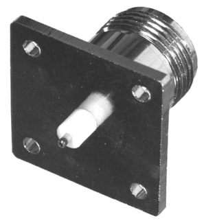 RFN-1021-11 RF Industries Nickel, FEM 1 SQ 4-HOLE PANEL MNT W/ EXTENDED DIELECTRIC & POST TERMINAL