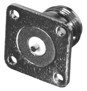 RFN-1021-14 RF Industries Nickel, FEM 4-HOLE PANEL MNTW/ SLOTTED TERMINAL, N-G-T