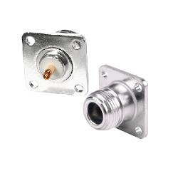 RFN-1021-15 RF Industries Nickel, FEM 4-HOLE PANEL MOUNT, (RFN-1021-03) Nickel,Gold,T, W/ BeCu CONTA