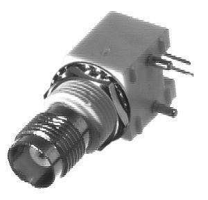 RFT-1209-W RF Industries TNC, FEM Right Angle LOW PRFILE PCB MNT, WHITE VALOX, A,Gold,P; POST LEG; W
