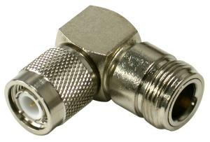 RFT-1234-11 RF Industries TNC Right Angle Adapter TNC Male To N Female, Nickel Plated