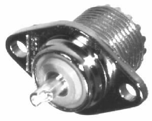 RFU-522 RF Industries UHF, FEM 2-HOLE PANEL MNT, SO-239-2H, Nickel,S,B