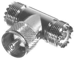 RFU-533 RF Industries UHF T ADAPTER, DOUBLE FEM, 1 MALE, Nickel,S,D