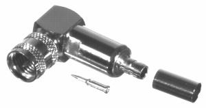RFU-600-10C1 RF Industries M-UHF, MALE Right Angle CRIMP, Nickel,Gold,T; FOR RG-142/U & RG-55/U, CBL