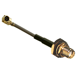 RFW-10531-12 RF Industries MHF Right Angle PLUG TO SMA BULKHEAD JACK; 113 MM COAXIAL CABLE