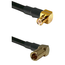 MCX Right Angle Male on LMR-195-UF UltraFlex to SLB Right Angle Female Cable Assembly