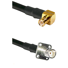 MCX Right Angle Male on RG142 to BNC 4 Hole Female Cable Assembly