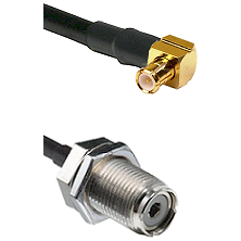 Right Angle MCX Male on RG142 to UHF Female Bulk Head Connectors Cable Assembly
