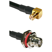 MCX Right Angle Male on RG400 to C Female Bulkhead Cable Assembly
