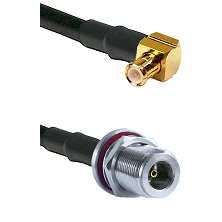 Right Angle MCX Male On RG400 To N Female Bulk Head Connectors Coaxial Cable