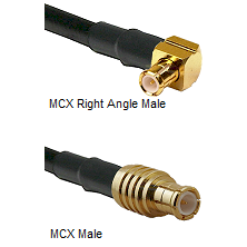 MCX Right Angle Male on RG58 to MCX Male Coaxial Cable Assembly