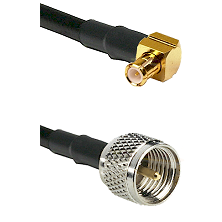 MCX Right Angle Male on RG58C/U to Mini-UHF Male Cable Assembly