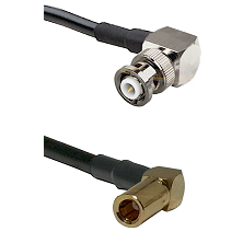 MHV Right Angle Male on LMR-195-UF UltraFlex to SLB Right Angle Female Cable Assembly