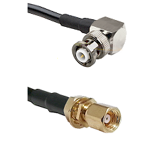 MHV Right Angle Male on LMR-195-UF UltraFlex to SMC Female Bulkhead Cable Assembly