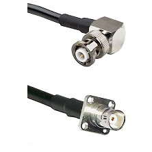 MHV Right Angle Male on LMR200 UltraFlex to BNC 4 Hole Female Cable Assembly