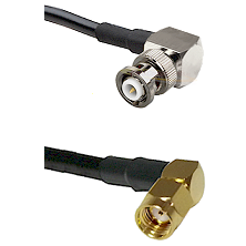 MHV Right Angle Male Connector On LMR-240UF UltraFlex To SMA Reverse Polarity Right Angle Male Conne