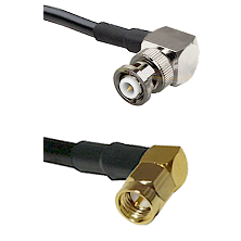 MHV Right Angle Male Connector On LMR-240UF UltraFlex To SMA Right Angle Male Connector Coaxial Cabl