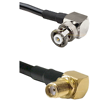 MHV Right Angle Male Connector On LMR-240UF UltraFlex To SMA Reverse Thread Right Angle Female Bulkh