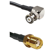 MHV Right Angle Male Connector On LMR-240UF UltraFlex To SMA Reverse Thread Female Connector Coaxial