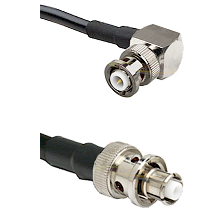MHV Right Angle Male Connector On LMR-240UF UltraFlex To SHV Plug Connector Cable Assembly