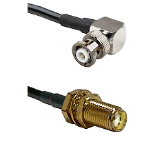MHV Right Angle Male Connector On LMR-240UF UltraFlex To SMA Female Bulkhead Connector Coaxial Cable