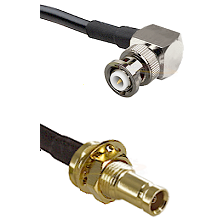MHV Right Angle Male on RG142 to 10/23 Female Bulkhead Cable Assembly