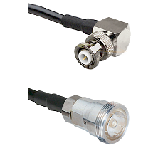 MHV Right Angle Male on RG142 to 7/16 Din Female Cable Assembly