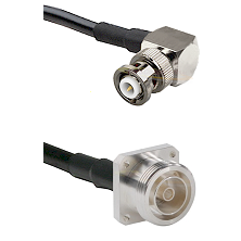 MHV Right Angle Male on RG142 to 7/16 4 Hole Female Cable Assembly