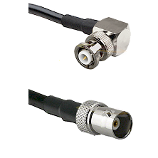 MHV Right Angle Male on RG142 to BNC Female Cable Assembly
