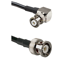 MHV Right Angle Male on RG142 to BNC Male Cable Assembly