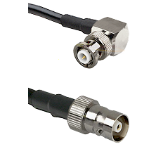 MHV Right Angle Male on RG142 to C Female Cable Assembly