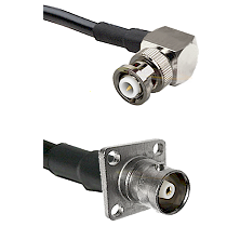 MHV Right Angle Male on RG142 to C 4 Hole Female Cable Assembly