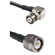 MHV Right Angle Male on RG142 to C Male Cable Assembly